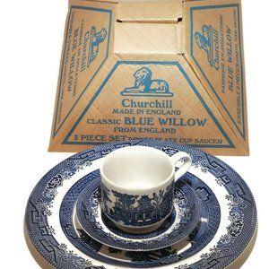 Churchill English China Blue Willow 3 Piece Set  B